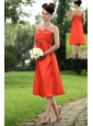Orange A-line Straps Tea-length Taffeta Beading Bridesmaid Dress