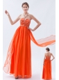 Organge Red Empire Sweetheart Prom Dress Chiffon Beading Floor-length