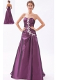 Dark Purple A-line / Princess Sweetheart Prom Dress Beading Brush Train Taffeta