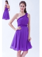 Purple A-line One Shoulder Chiffon Ruch Prom Dress Knee-length