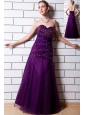 Purple A-line Sweetheart Sequins Prom Dress Tulle and Taffeta Floor-length