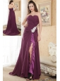 Dark Purple Column Sweetheart Prom Dress Chiffon Appliques Brush Train