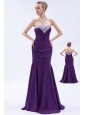 Purple Mermaid Sweetheart Beading and Ruch Prom Dress Brush Train Chiffon