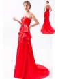 Red A-line / Princess Strapless Prom Dress Satin Beading Brush Train