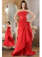 Red A-line Strapless Prom Dress Brush Train Taffeta Lace