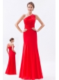 Red Column / Sheath One Shoulder Prom Dress Chiffon Beading Floor-length