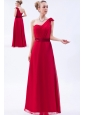 Red Column One Shoulder Floor-length Chiffon Ruch Bridesmaid Dress