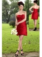 Wine Red Column Sweetheart Mini-length Taffeta Bridesmaid Dress
