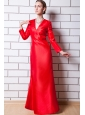 Red Column V-neck Floor-length Taffeta Mother Of The Bride Dress
