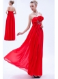 Red Empire One Shoulder Prom Dress Chiffon Beading and Hand Made Flowers Floor-length