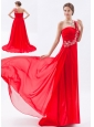 Red Empire One Shoulder Prom Dress Chiffon Beading Brush Train