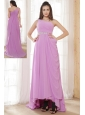 Lavender Empire One Shoulder Chiffon Ruch and Beading Prom Dress High-low