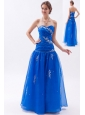 Blue A-line / Princess Sweetheart Prom  Dress Organza Embroidery with Beading Floor-length