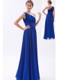 Royal Blue Chiffon Beading Prom Dress Empire One Shoulder Floor-length