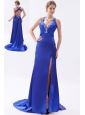 Royal Blue Column / Sheath Straps Prom Dress Embroidery with Beading Brush Train Satin