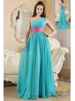 Turquoise Empire One Shoulder Prom Dress Chiffon Ruch and Beading Floor-Length