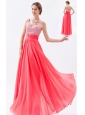 Coral Red Empire Straps Chiffon Prom Dress Beading Floor-length