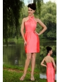 Watermelon Red Column High-neck Mini-length Taffeta Prom / Homecoming Dress