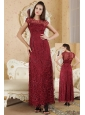 Burgundy Column Bateau Ankle-length Beading Mother Of The Bride Dress
