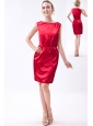 Wine Red Column Bateau Mini-length Taffeta Mother Of The Bride Dress