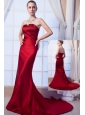 Wine Red Column Strapless Prom Dress Satin Beading Brush Train
