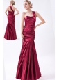 Wine Red Mermaid One Shoulder Prom Dress Taffeta Ruch Floor-length