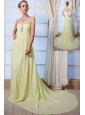 Yellow Green Empire Sweetheart Beading Prom Dress Brush Train Chiffon