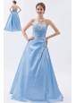 Baby Blue A-line / Sheath Strapless Prom Dress Taffeta Appliques Floor-length