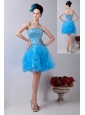 Baby Blue A-line Strapless Prom / Homecoming Dress Organza Beading Mini-length