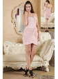 Baby Pink Column Sweetheart Prom Dress Chiffon Beading Mini-length