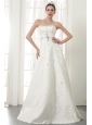 Beautiful A-Line / Princess Strapless Floor-length Lace Beading Wedding Dress