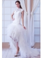 Beautiful A-line High-neck Court Train Tulle Beading Wedding Dress