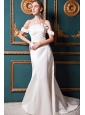 Beautiful A-line Off The Shoulder Court Train Satin Wedding Dress