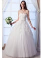 Beautiful A-line Sweetheart Floor-lengthTulle Appliques and Hand Made Flowers Wedding Dress