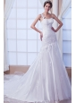 Beautiful Mermaid One Shoulder Chapel Train Organza Embroidery Wedding Dress