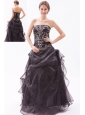 Black A-line / Princess Strapless Prom Dress Organza Beading Floor-length