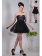Black Empire Sweetheart Prom / Homecoming Dress Organza Beading Mini-length