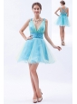 Blue A-line / Princess V-neck Prom / Evening / Homecoming / Cocktail Dress Organza Sequins Mini-length