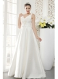 Brand New A-line / Princess V-neck Floor-length Satin Beading Wedding Dress
