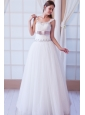 Brand New A-line Straps Floor-length Tulle Beading and Belt Wedding Dress