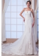 Brand New Mermaid Strapless Court Train Lace Beading Wedding Dress