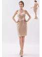 Champagne Column / Sheath Sweetheart Appliques Prom Dress Mini-length Satin