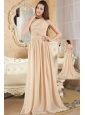 Champagne Empire Halter Prom Dress Chiffon Ruch Brush Train