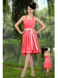 Coral Red Empire Halter Prom / Homecoming Dress Elastic Woven Satin Sashes Knee-length