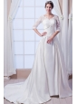 Elegant A-line / Princess V-neck Court Train Satin Appliques Wedding Dress