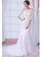 Exquisite Mermaid Off The Shoulder Court Train Lace Wedding Dress