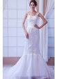 Exquisite Mermaid Straps Court Train Organza Appliques Wedding Dress