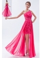 Hot Pink Column / Sheath One Shoulder Prom Dress High-low Chiffon Sequins