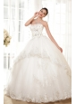 Luxurious Ball Gown Strapless Floor-length Tulle Appliques Wedding Dress