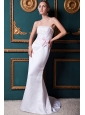 Modest Column Strapless Brush Train Satin Appliques Wedding Dress